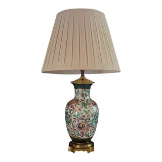 Vintage Asian Style Brass Base Table Lamp With Pleated Shade From Plaza Hotel Nyc For Sale