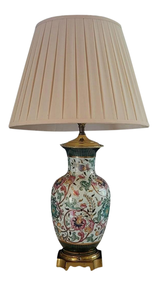 Picture of: Vintage Asian Style Brass Base Table Lamp With Pleated Shade From Plaza Hotel Nyc Chairish