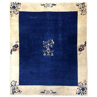 1900s Antique Blue Peking Chinese Rug- 8′1″ × 9′7″