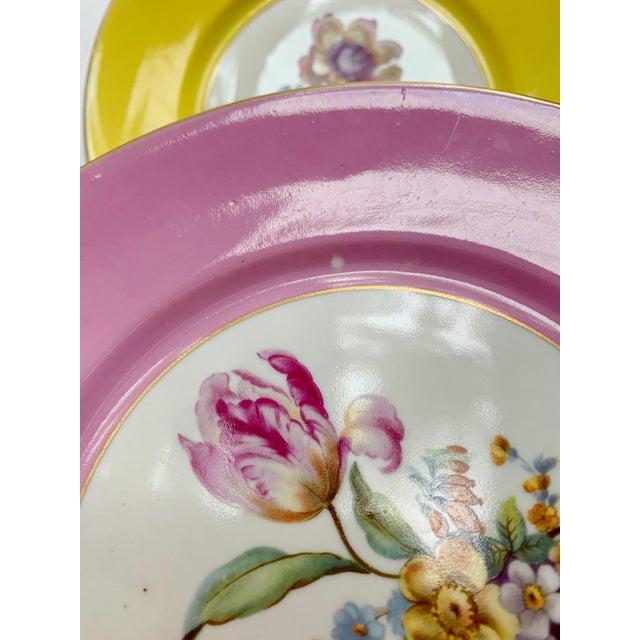 Blue Vintage Richard Ginori Italy, Multicolored Porcelain Salad / Dessert Plates, Flower Patterns , Set of 5 For Sale - Image 8 of 13