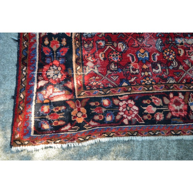 "Persian Distressed Floral Carpet - 9' 4"" X 4' 8"" For Sale - Image 9 of 12"