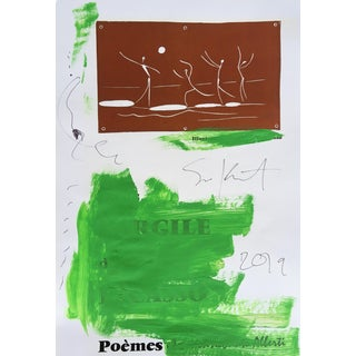 Abstract Framed Picasso Poster Painting by Sean Kratzert 'Green Dancers' For Sale