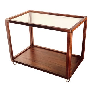 Mid-Century Modern Brazilian Rosewood and Glass Rolling Bar Cart For Sale