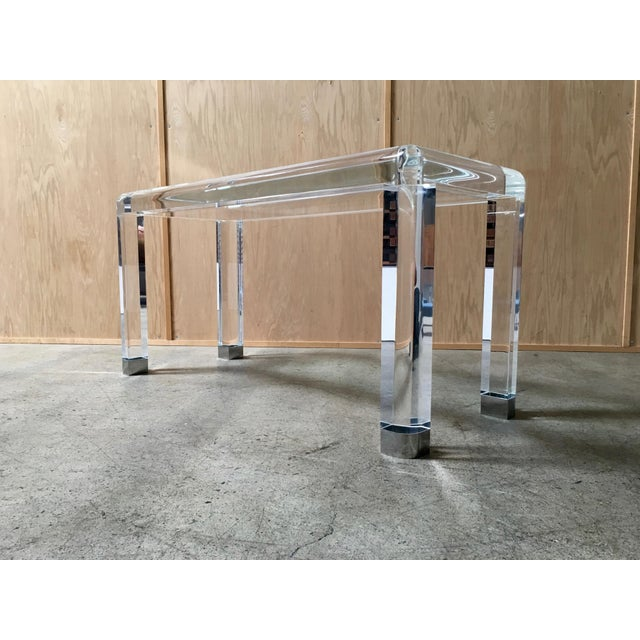 Glass 20th Century Lucite Console Table For Sale - Image 7 of 13