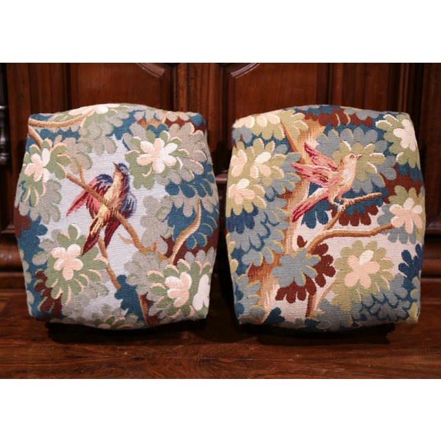 French Pair of 19th Century, French, Carved Walnut Stools with Old Aubusson Tapestry For Sale - Image 3 of 10