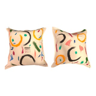 Abstract Accent Throw Pillows - A Pair For Sale