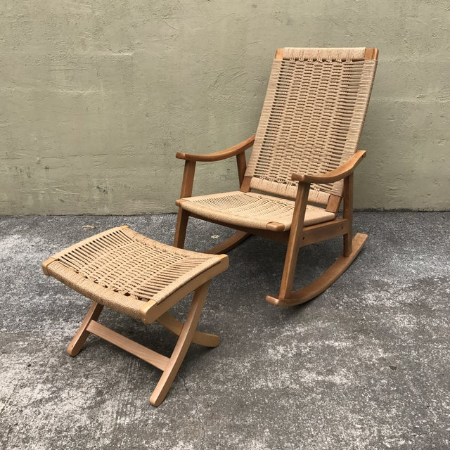 Hans Wegner Style Rocking Chair & Ottoman - A Pair - Image 3 of 11