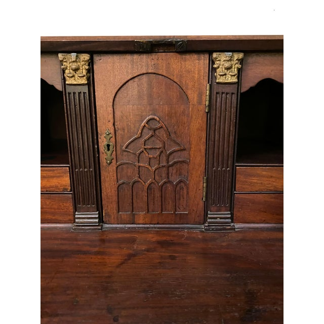 19th Century Antique Flame Mahogany Slant Front Desk For Sale - Image 5 of 8