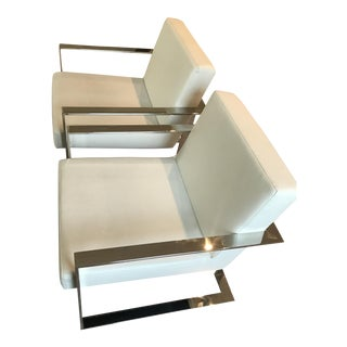 Modern White Leather Chairs - a Pair For Sale