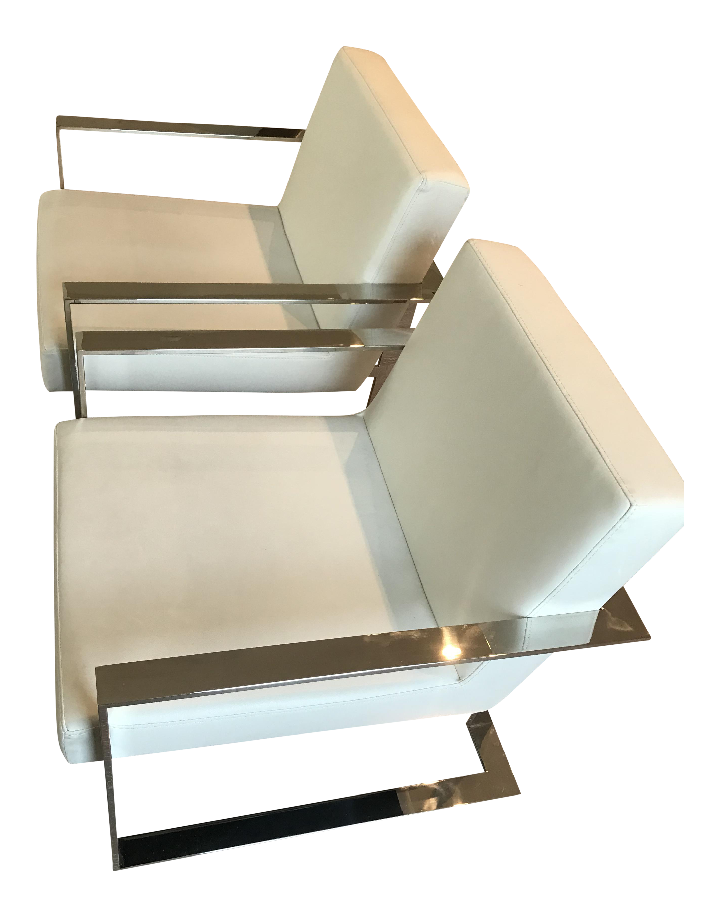 Modern White Leather Chairs   A Pair