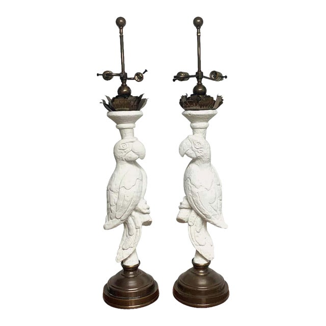 White Lacquered and Brass Parrot Lamps - a Pair For Sale