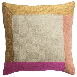 Nia Square Hand Embroidered Modern Geometric Throw Pillow For Sale