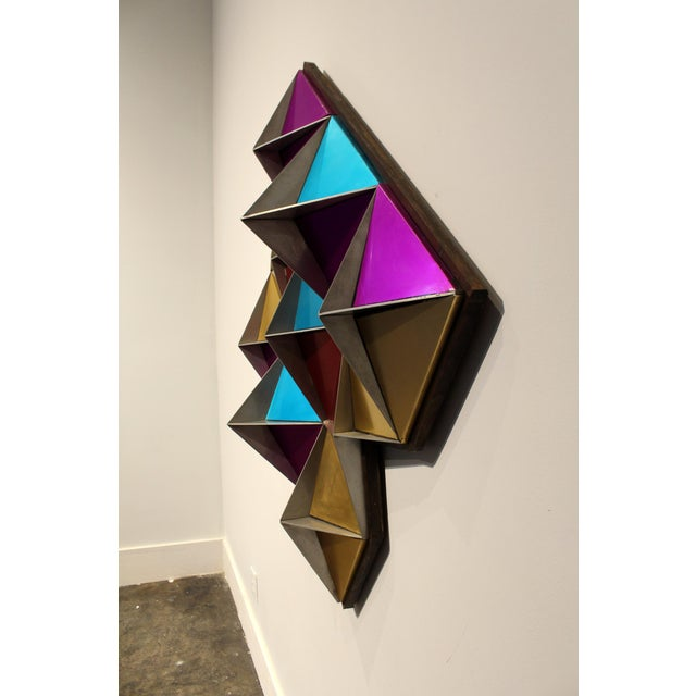 1970s 1970's Anodized Aluminum Three Dimensional Geometric Wall Art For Sale - Image 5 of 9