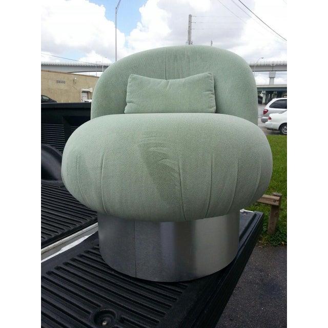 1970's Hollywood Regency Green Swivel Vanity Chair For Sale - Image 4 of 8