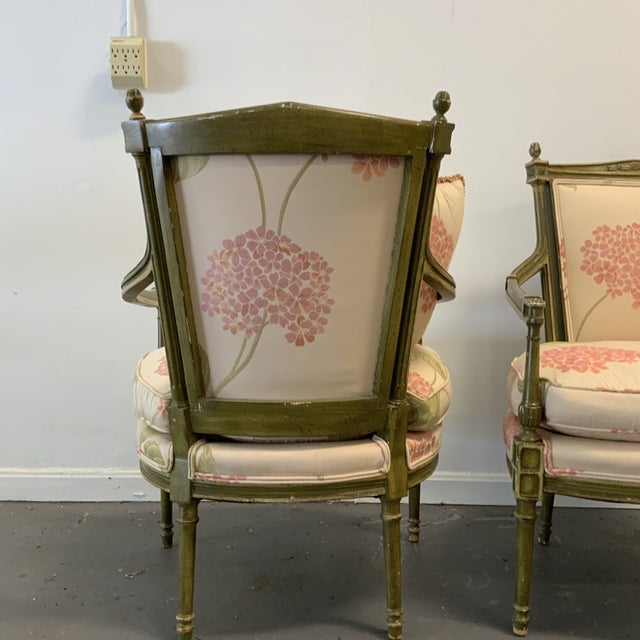 Wood Italian Upholstered Arm Chairs- A Pair For Sale - Image 7 of 10