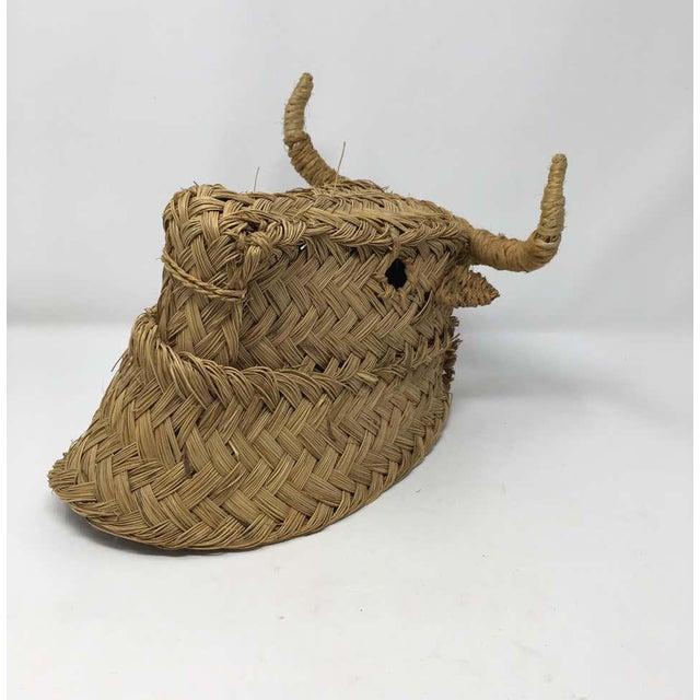 Mid 20th Century Mid 20th Century Handmade Esparto Grass Wall Mount Bulls Head For Sale - Image 5 of 11