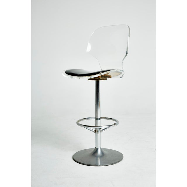 Set of Six Lucite Bar Stools For Sale - Image 5 of 8