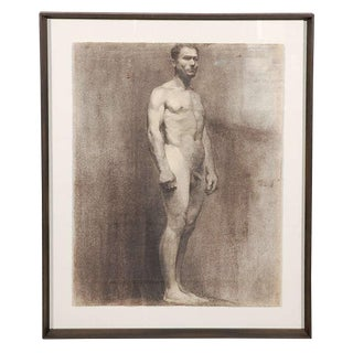 Custom Modern Framed Charcoal Male Nude Drawing by Artist Landini, Italy 1908 For Sale