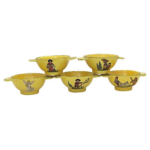 Set of ten hand-painted bowls from Provence, France. Scenes on both sides of bowl. They stack nicely for easy storage....