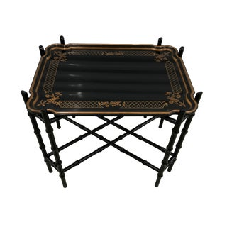 Baker Furniture Faux Bamboo Chinoiserie Tray Coffee Table For Sale