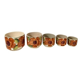 Late 20th Century Vintage Mexican Ceramic Nesting Planters - Set of 5 For Sale