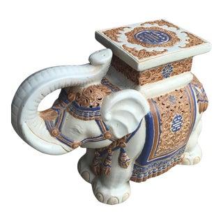Cream & Blue Chinoiserie Ceramic Garden Seat For Sale