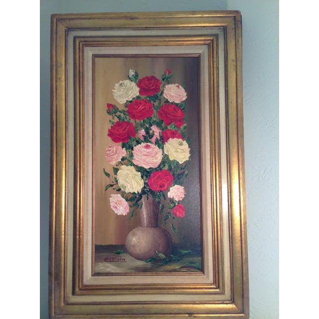 Mid-Century Roses in Brass Vase Still Life Painting - Image 2 of 11