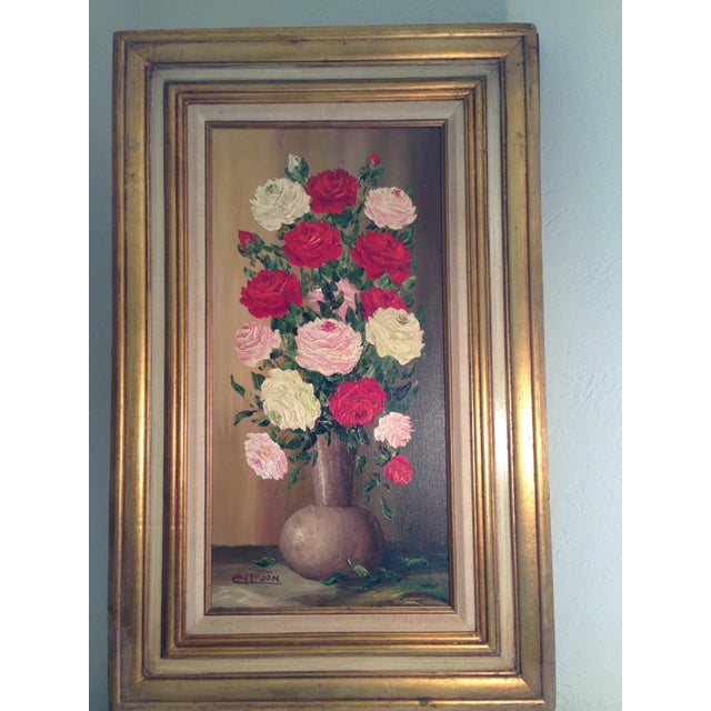 Valentine's Day Mid-Century Roses in Brass Vase Still Life Painting - Image 2 of 11