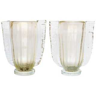 winged Murano Vases by Sergio Costantini - a Pair For Sale