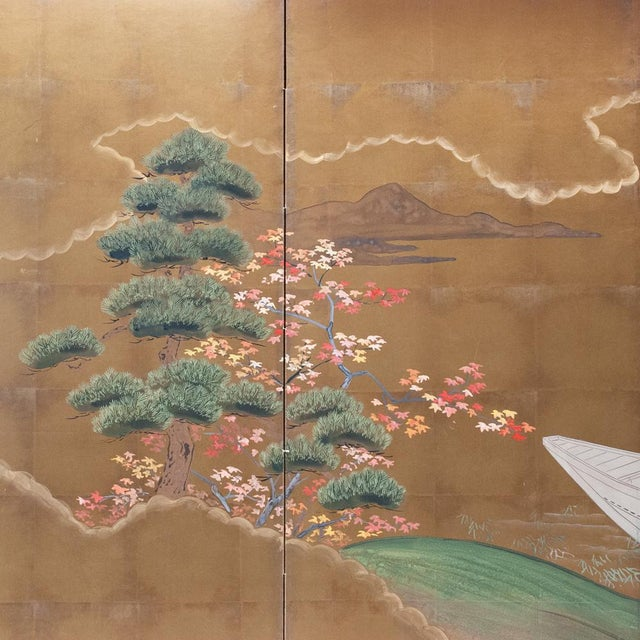1920s Japanese Four Panel Byobu Screen For Sale In Dallas - Image 6 of 13