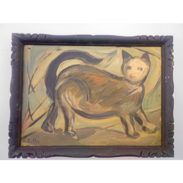 Mid 20th Century Portrait of Walking Feline Oil Painting For Sale - Image 5 of 5
