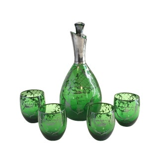 Art Nouveau Emerald Green Sterling Decanter Set