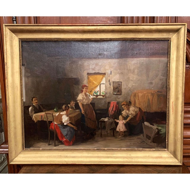 Late 19th Century 19th Century Hungarian Oil on Canvas Painting in Gilt Frame Signed & Dated, 1897 For Sale - Image 5 of 12
