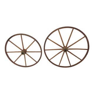 Antique - Victorian Wood Spoke Baby Carraige Wheels a Pair For Sale