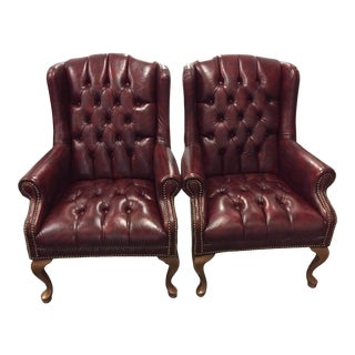 Mid Century Leather Wing Back Chairs- A Pair For Sale