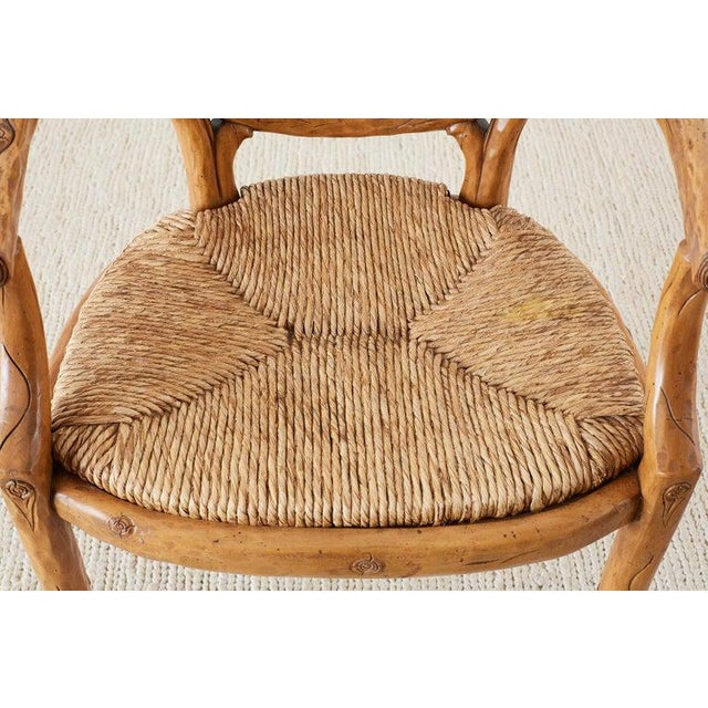William Switzer Faux Bois Cane and Rush Seat Armchairs For Sale In San Francisco - Image 6 of 13