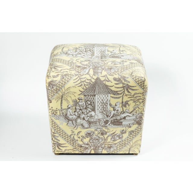 0f Chinoiserie Toile Ottomans - a Pair For Sale - Image 4 of 10