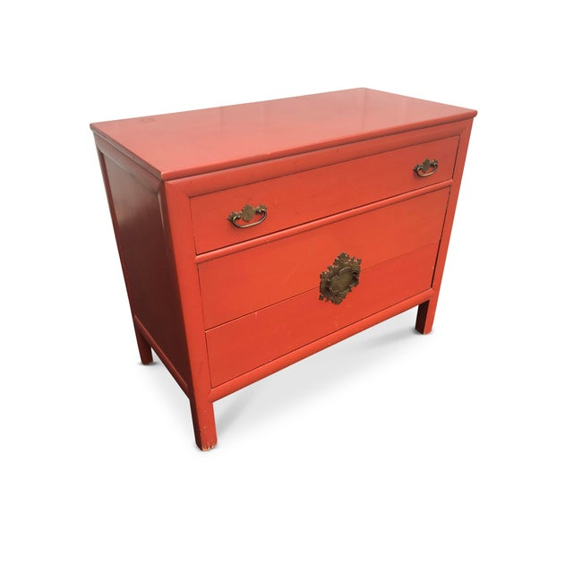 Red Vintage Century Furniture Chinoiserie Commode in Vermilion For Sale - Image 8 of 10