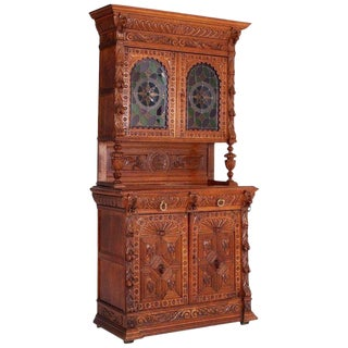19th Century Hand-Carved French Henri II Style Oak Cabinet For Sale