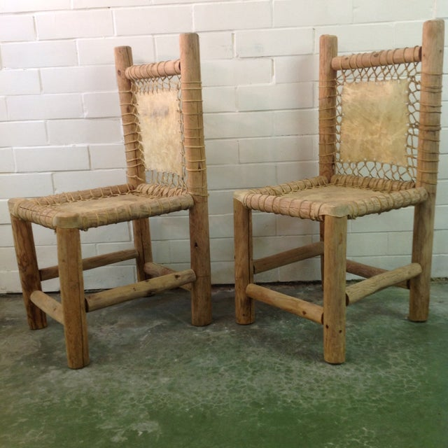 Vintage Handmade Lodgepole & Rawhide Chairs - Pair For Sale - Image 4 of 6