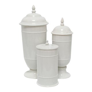 White Ceramic Savannah Canisters - Set of 3