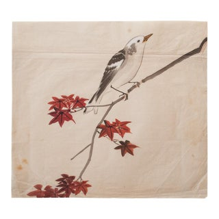 19th Century Meiji Era Japanese White-Headed Tit Watercolor Painting For Sale