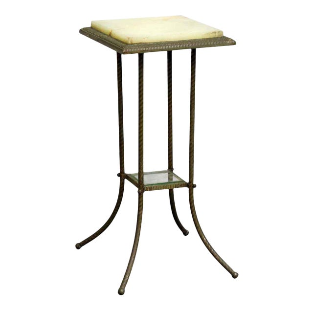 20th Century Traditional Marble Top Side Console Table With Small Glass Shelf For Sale
