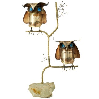 1960s Mid-Century Mod C.Jere 2Brass Hoot Owls Tree Marble Table Sculpture Bird For Sale