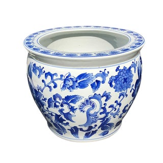 Vintage Mid Century Chinese Export Ceramic Chinese Blue & White Floral Fish Bowl Planter For Sale