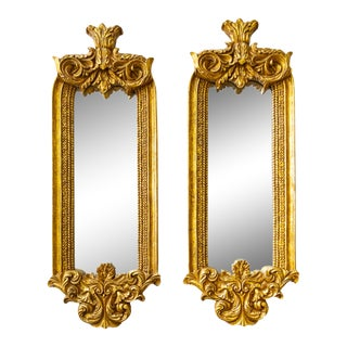 Rococo Accent Mirrors | Gold and Plaster | Pair of Two For Sale