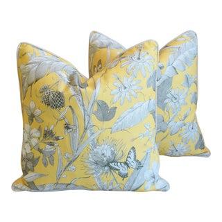 "Designer English Floral & Nature Linen/Velvet Feather & Down Pillows 24"" Square - Pair For Sale"