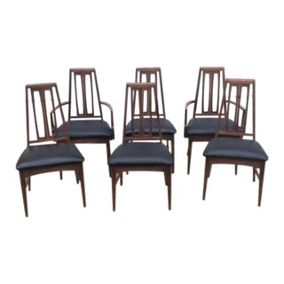 Mid-Century Danish Modern Walnut Dining Chairs - Set of 6