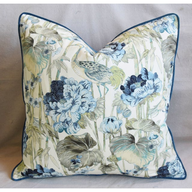 "Early 21st Century Chinoiserie Crane & Floral Feather/Down Pillow 24"" Square For Sale - Image 5 of 6"