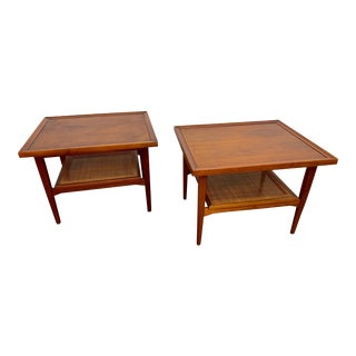 Kipp Stewart for Drexel Declaration Walnut and Cane Side Tables - a Pair For Sale